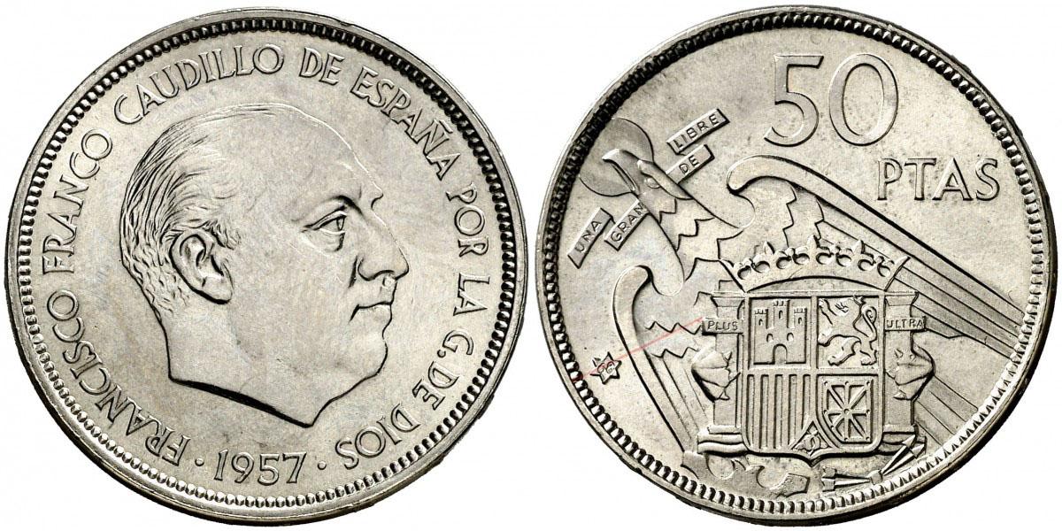 50 pesetas 1957 (*68). Estado Español. Troquelada 2704562