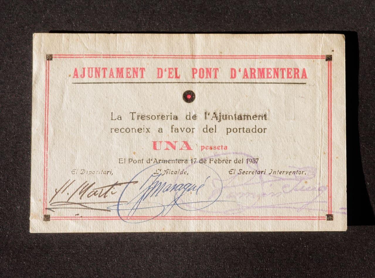 1 Peseta El Pont d'Armentera, 1937 IMG_2852