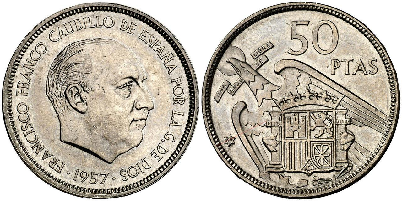 50 pesetas 1957 (*68). Estado Español. Troquelada 4787359
