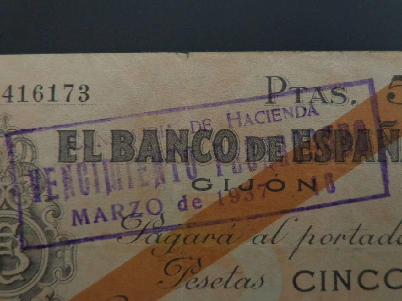 5 Pesetas 5 Noviembre 1936, Banco de España (Gijón)  DSC00673