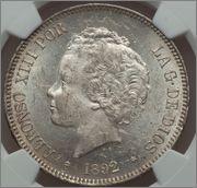 5 pesetas 1892*18-92 Alfonso XIII (Buclés ) Image