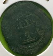 2 maravedís de Felipe II ceca de Cuenca con resello de Felipe III IMG_4301