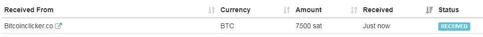 1º Pago de Bitcoinclicker ( 0.00007500 Btc ) Bitcoinclickerpayment