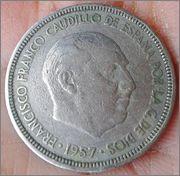 5 pesetas Franco 1957 .. estrella ?? 20160412_164736