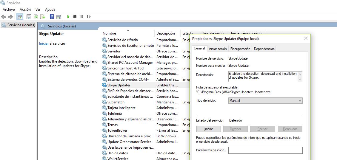 Evitar que Skype se ejecute automáticamente en Windows 10 Skypeupdater