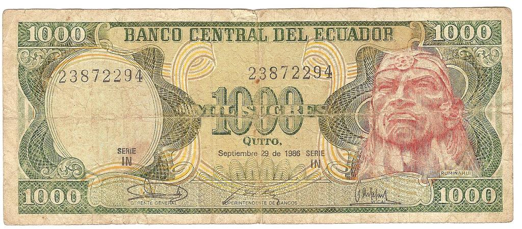 1000 sucres de Ecuador año 1986 Image