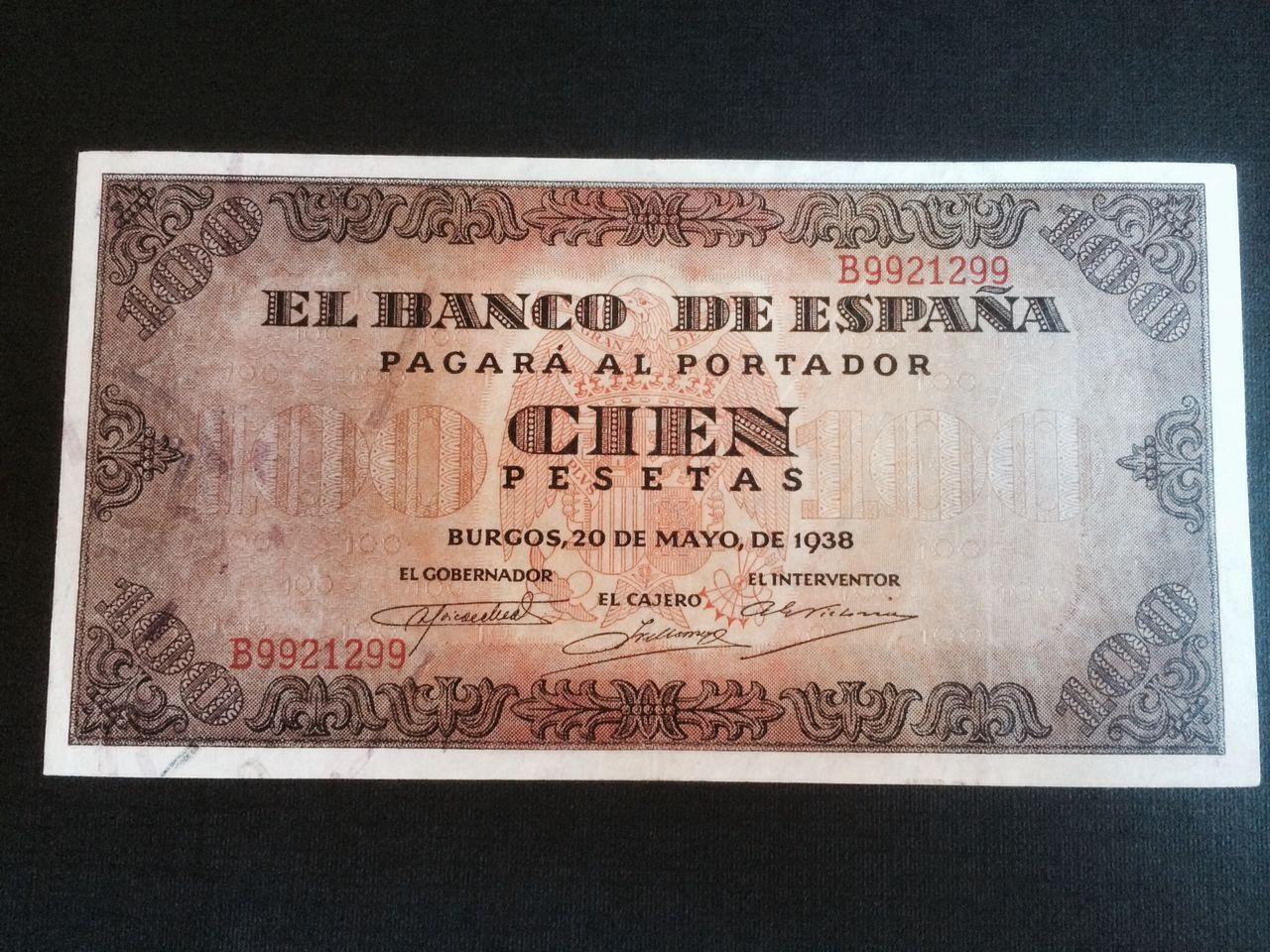 100 Pesetas 1938 (capicúa) Image