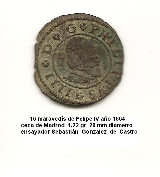 16 maravedís de Felipe IV año 1664 Image
