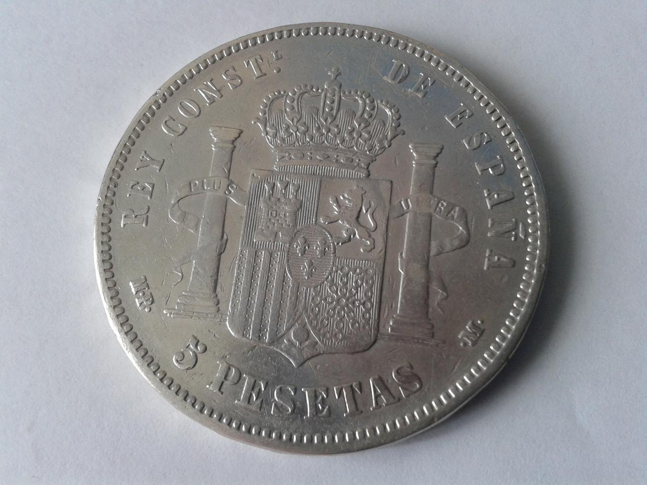5 pesetas 1889 - Alfonso XII - Rectificación MP-M sobre DE-M 20141021_164543