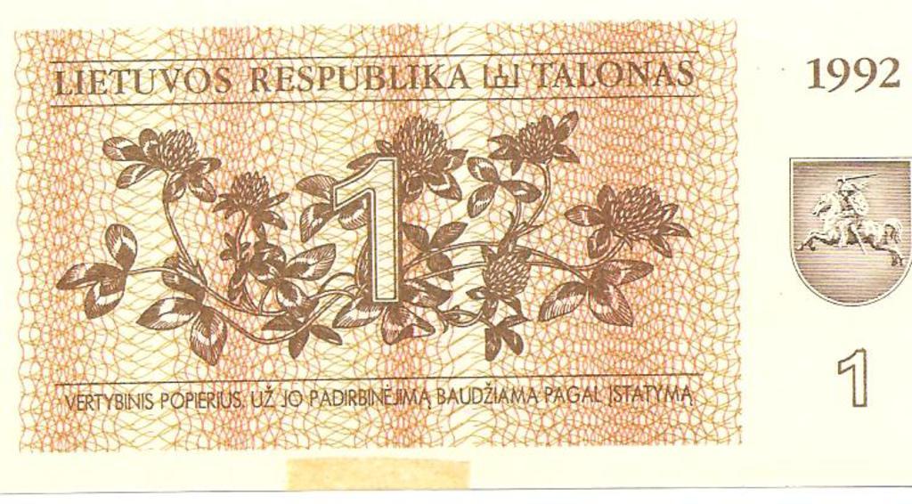 1 talonas  de Lituania año 1992 Image