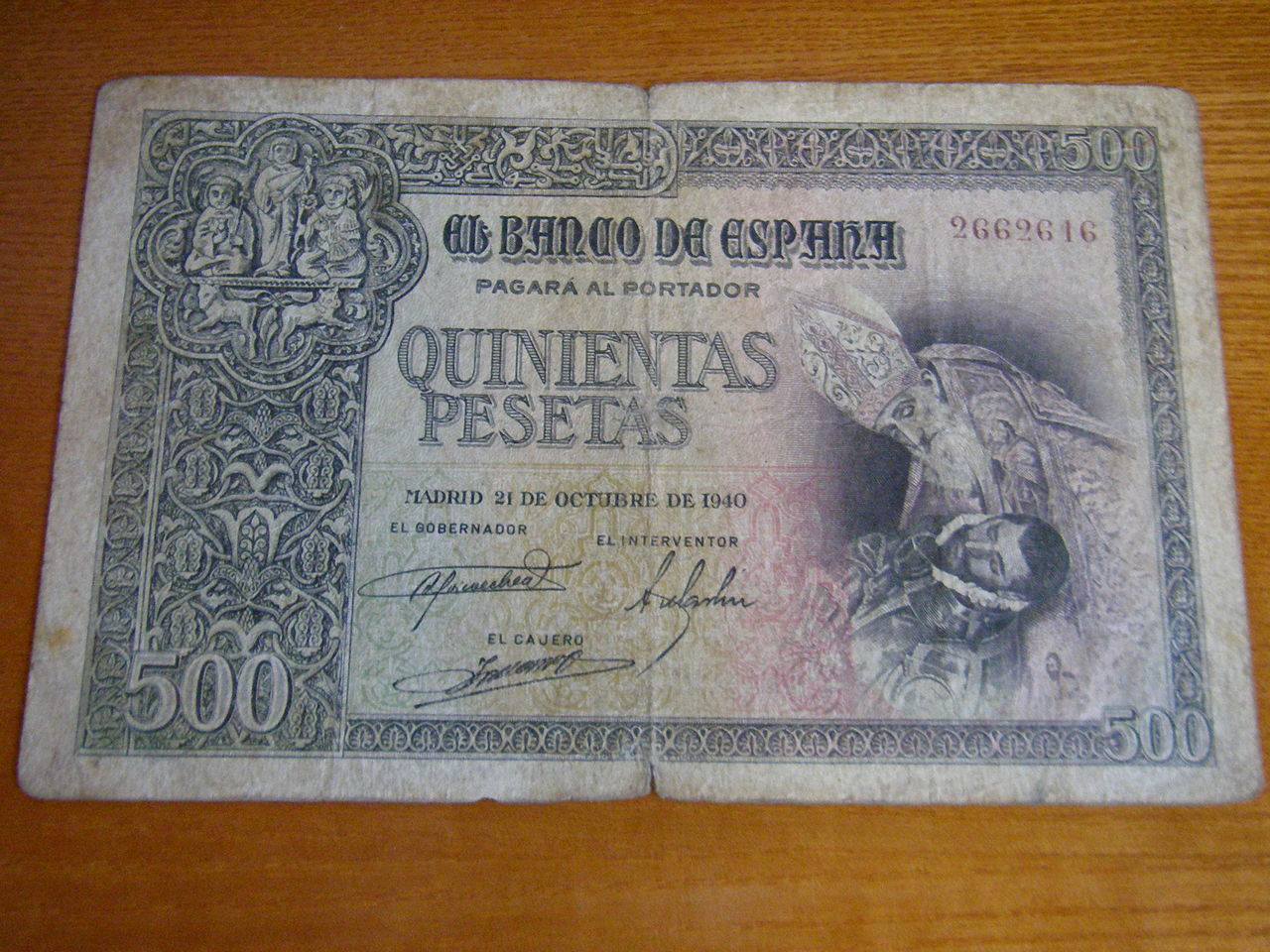 500 Pesetas Octubre 1940 Greco_1