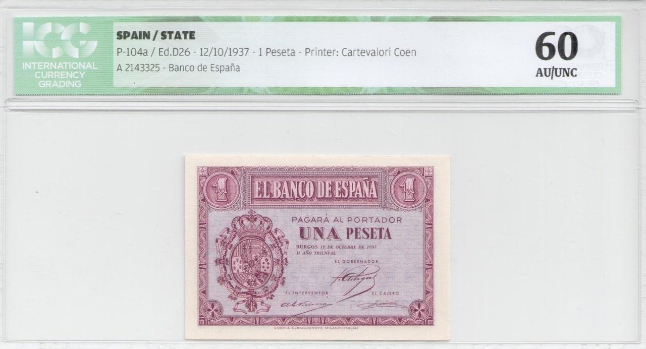Colección de billetes españoles, sin serie o serie A de Sefcor 37_anverso