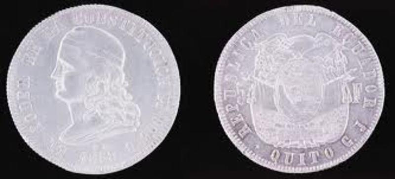 EN LA MITAD DEL MUNDO Moneda_de_5_francos_de_ecuador_1858
