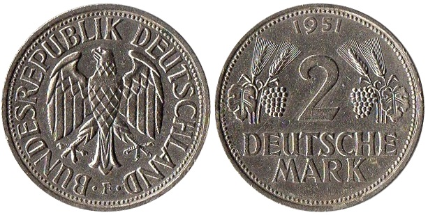 ALEMANIA 2 D. Mark 1951 Alemainia_R._F._-_111_2_D._Mark_1951