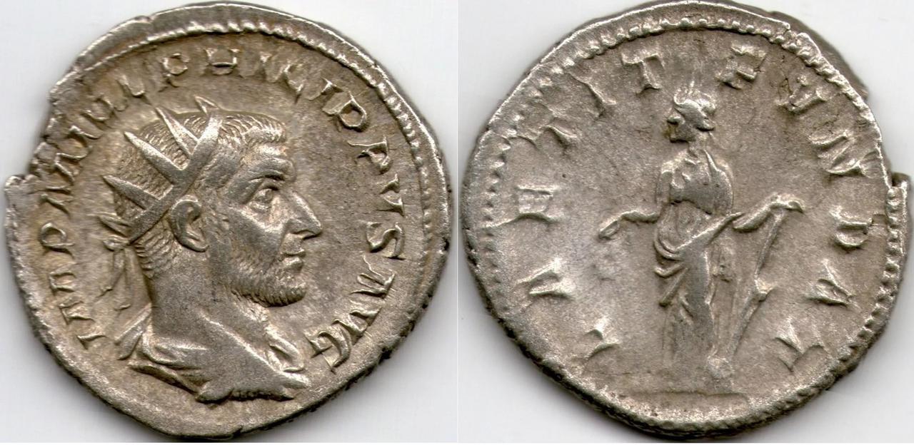 Antoniniano de Filipo I El Árabe. LAETIT FVNDAT. Roma. ¿Primer emperador cristiano? Antoniniano_de_Filipo_I_el_rabe