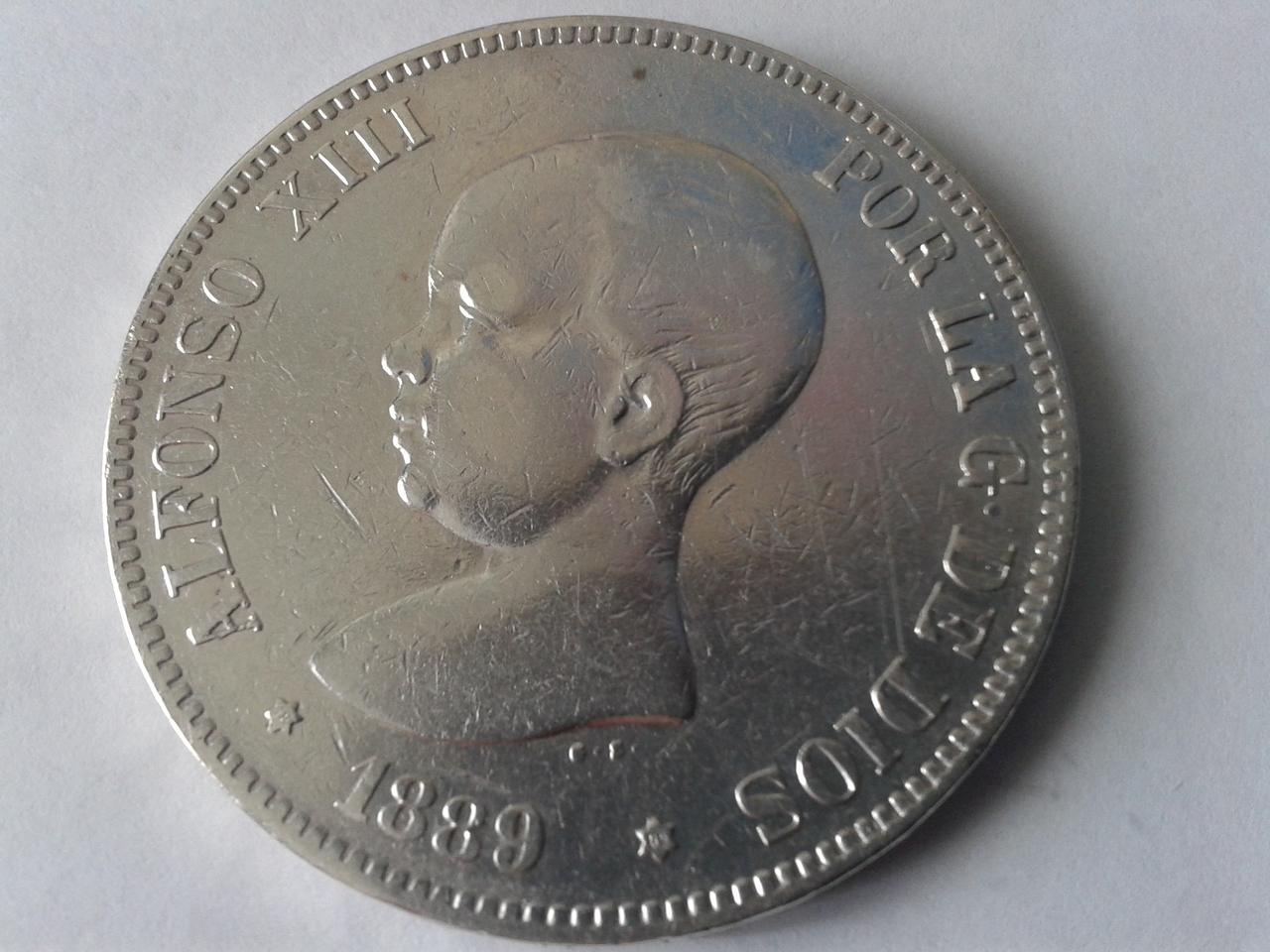 5 pesetas 1889 - Alfonso XII - Rectificación MP-M sobre DE-M 20141021_164528