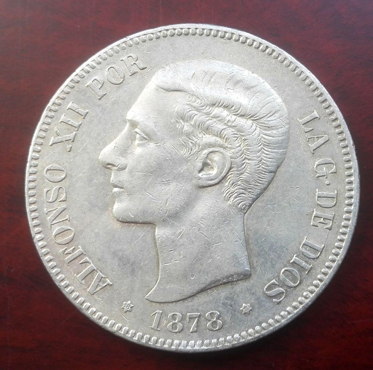 5 pesetas 1878 EM M, Alfonso XII 5_pesetas_1878_EMM