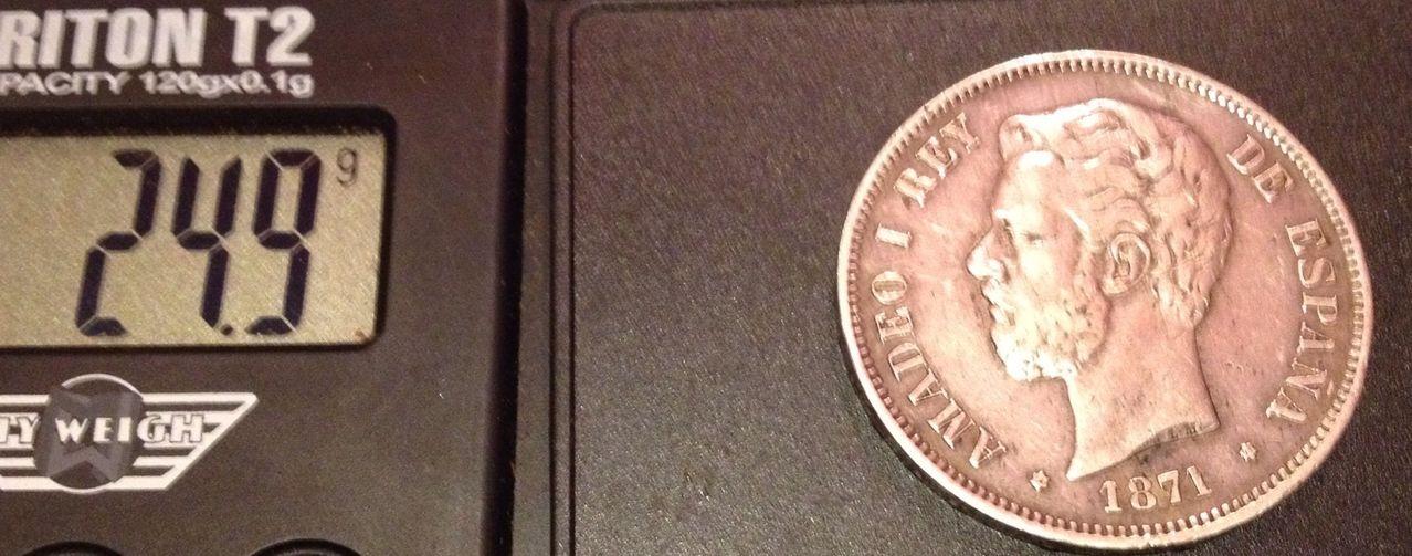 5 pesetas 1871 ( *18-71) Amadeo I Image
