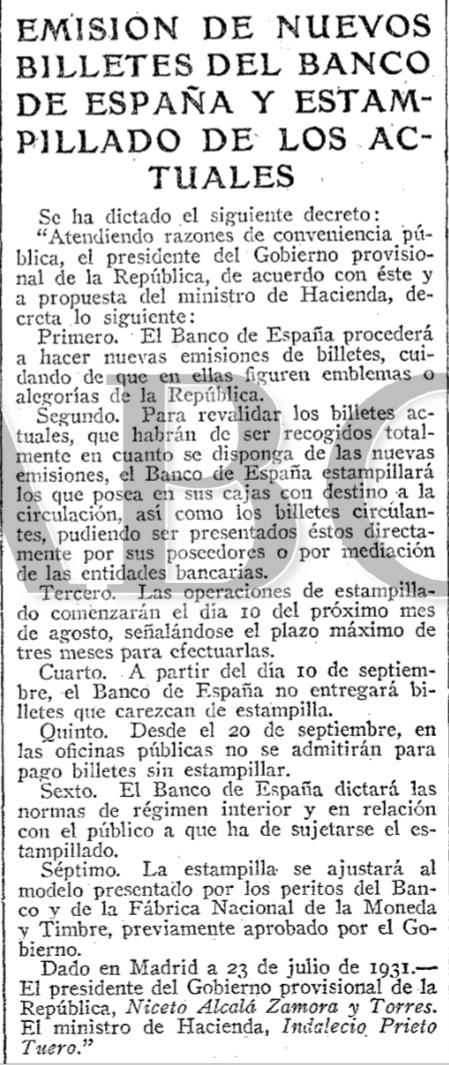 Sello en seco República - números 4-8 Decreto_emision