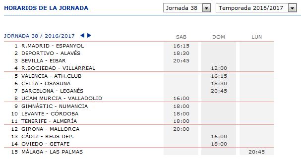 LA QUINIELA DE ZONAMALAGUISTA. J23ª (18-19-20 Febrero) JQ_Horarios