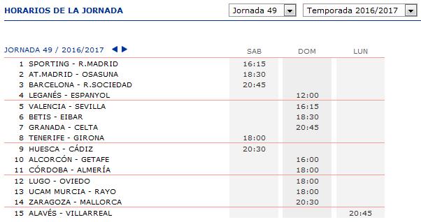 LA QUINIELA DE ZONAMALAGUISTA. J32ª (15-16-17 Abril) JQ_Horarios