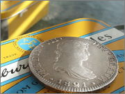 Moneda de plata de España, reinado de Fernando VII, valor facial 8 reales (26,83gr), emisión 1821, ceca MEJICO, ensayadores JJ. 20140122_121552