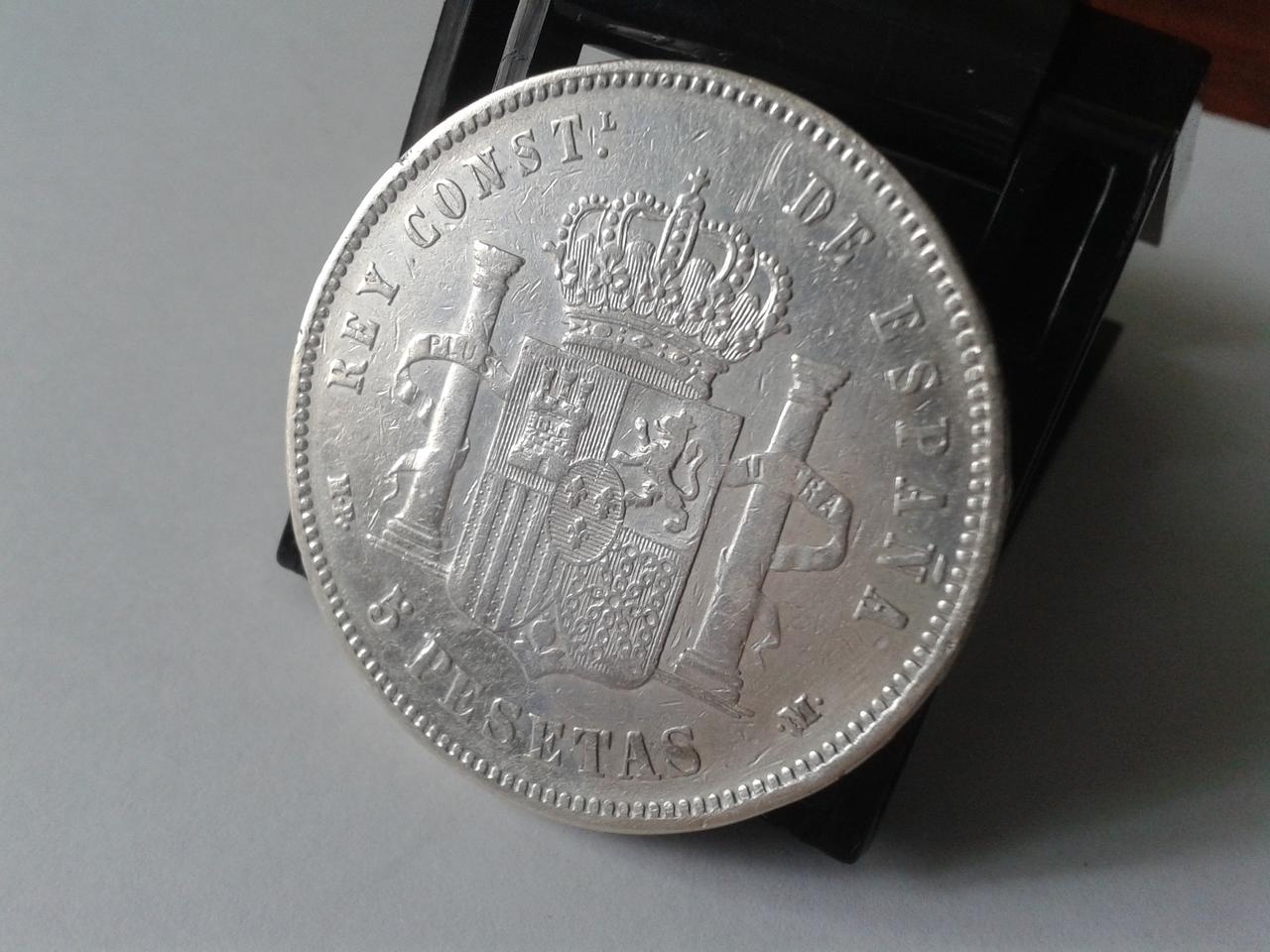 5 pesetas 1889 - Alfonso XII - Rectificación MP-M sobre DE-M 20141021_164602