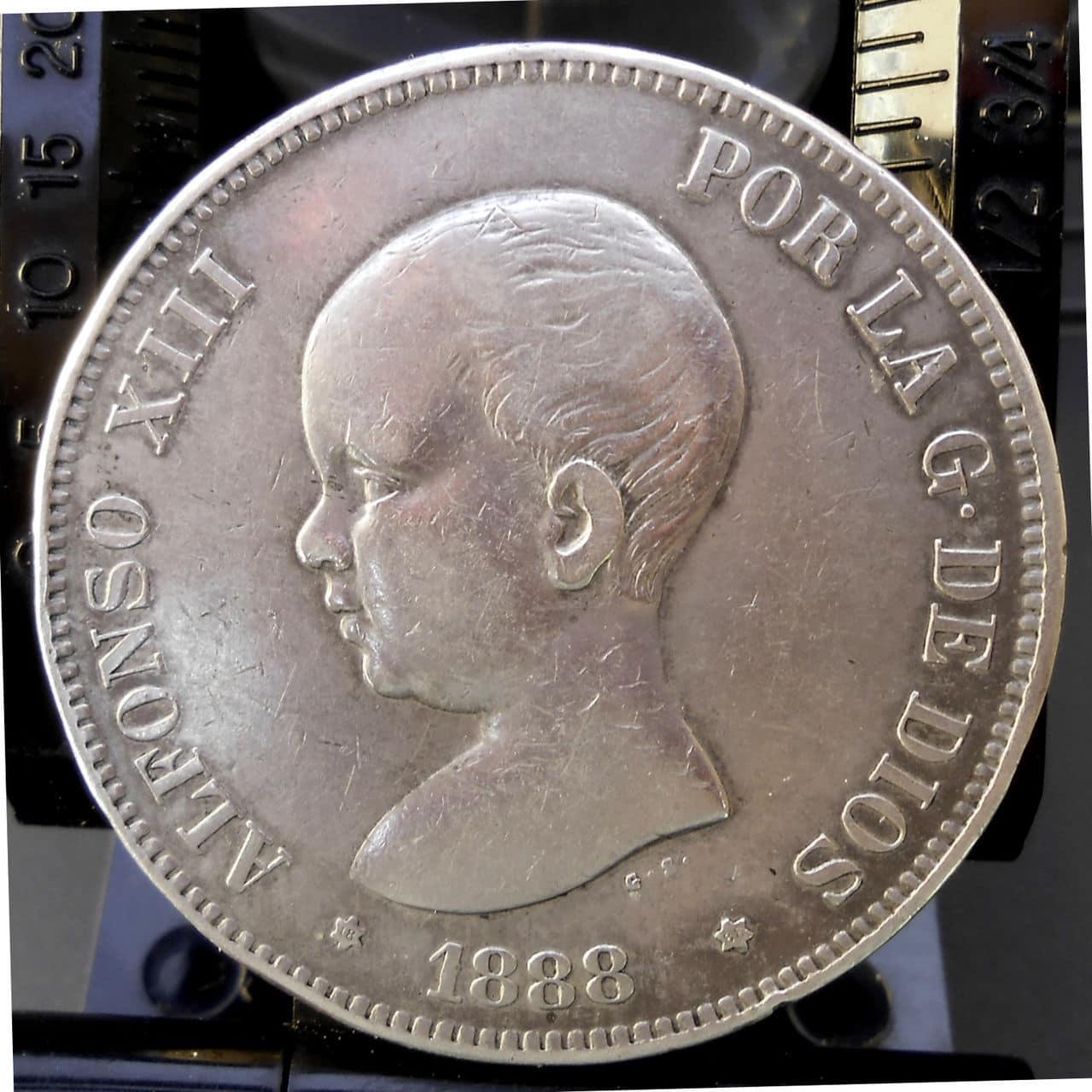 5 pesetas Alfonso XIII 1888 MPM. Anv_1888