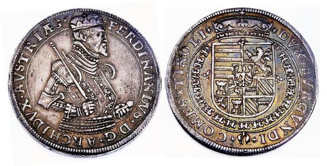 Taler del Archiduque Fernando II de Austria (1564-1595). Hall. Padre del Ingenio Segoviano. Taler_Fernando_II