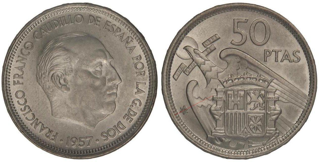 50 pesetas 1957 (*68). Estado Español. Troquelada 4756056