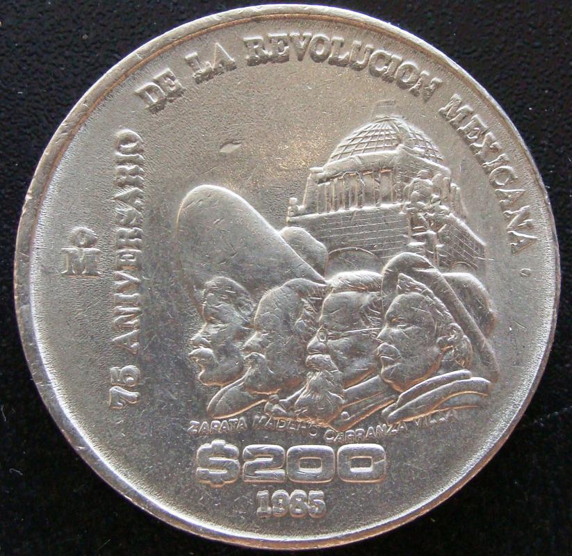 200 Pesos. México (1985) 75º Aniversario de la Revolución Mexicana MEX._200_Pesos_1985_75_aniversario_Revoluci_n_-_rev