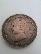 5 Pesetas 1891 (* 18-91) Alfonso XIII (PELÓN), manchas negras Duro