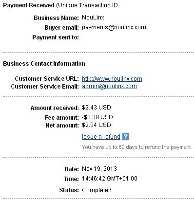 1º Pago de Noulinx ( $2,43 ) Noulinxpayment