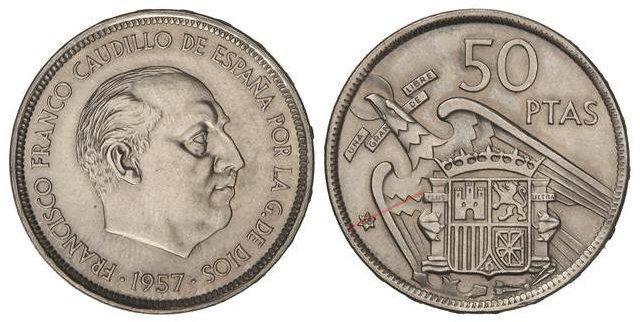 50 pesetas 1957 (*68). Estado Español. Troquelada 3767109