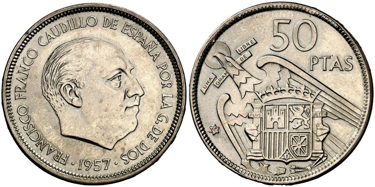 50 pesetas 1957 (*68). Estado Español. Troquelada 2388633