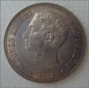 5 pesetas 1876*18-76 Alfonso XII Image