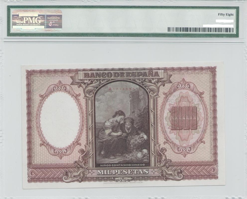 Colección de billetes españoles, sin serie o serie A de Sefcor Murillo_reverso