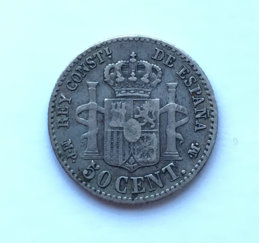 50 Céntimos Alfonso XIII 1889 Reverso incuso IMG_8949