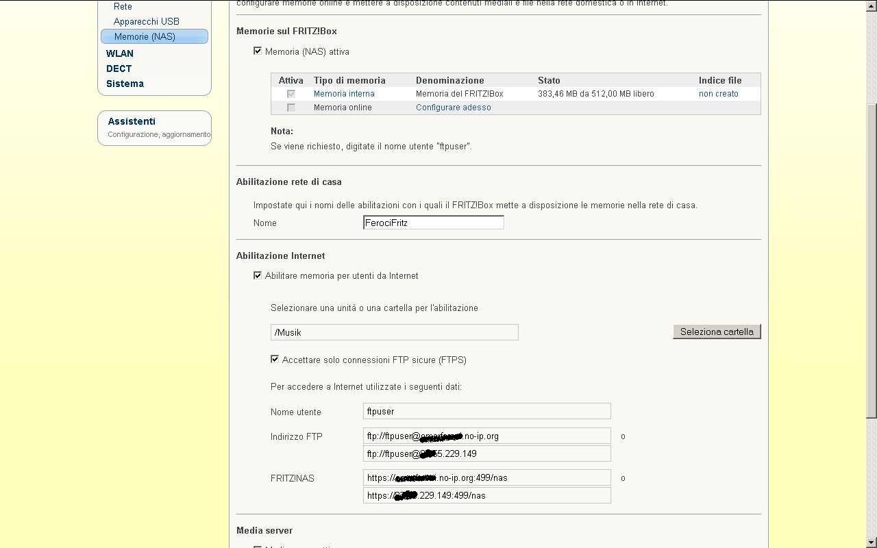 Fritz 7390 , problema NAS e attivazione ssh -proxy Appunti01