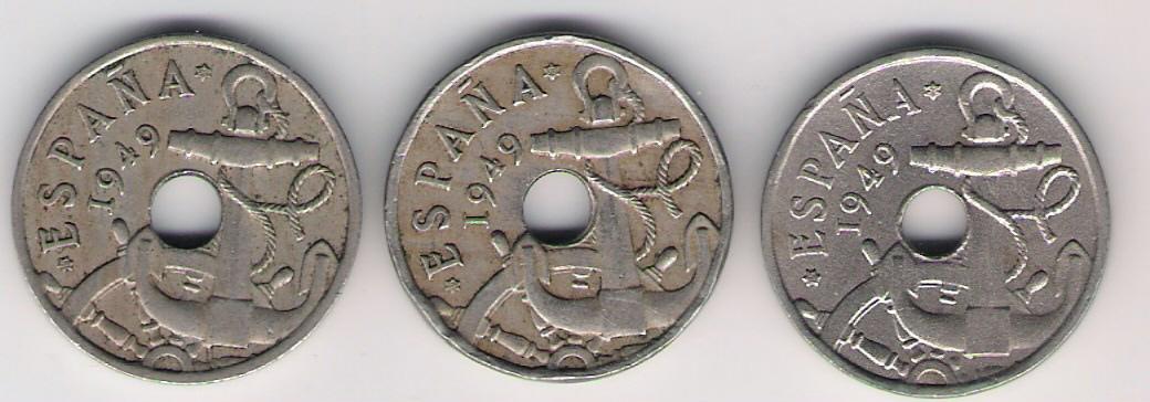 50 Céntimos 1949. Francisco Franco. Variante. Escanear