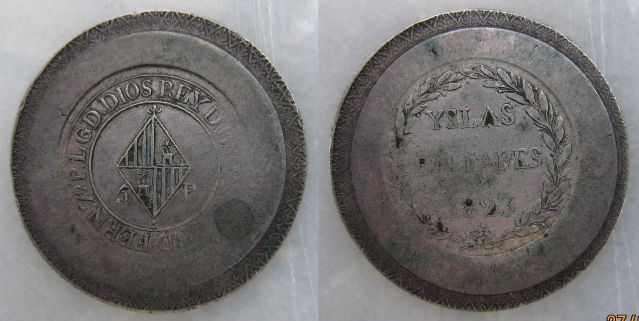 5 Pesetas 1823. Fernando VII. Mallorca. 5_Ptas._Fernando_VII_1823_Mallorca