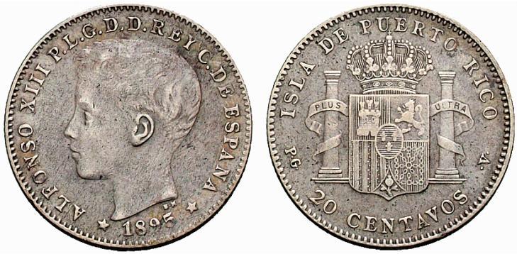 20 centavos 1895 Puerto Rico Image