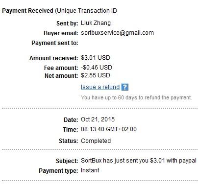 1º Pago de Sortbux ( $3,01 ) Sortbuxpayment