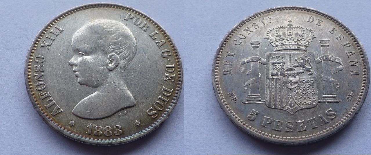 5 pesetas 1888 *19 *88. Alfonso XIII. Fbje9u