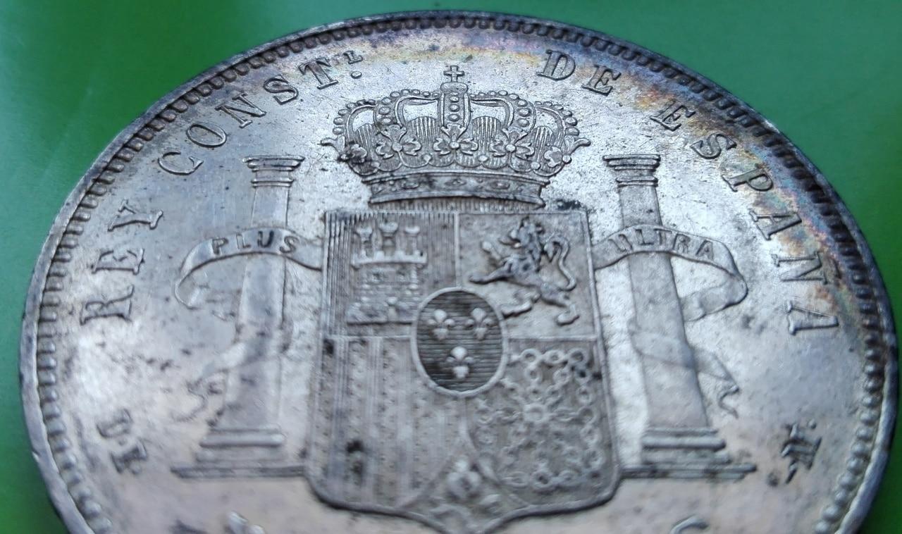 5 pesetas 1877. Alfonso XII. DE M 5_pts_1877_8