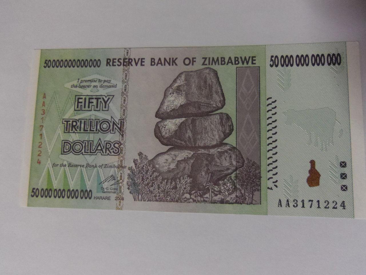 50 Trillones de dólares zimbabuenses, Zimbabue 2008. IMGP3015