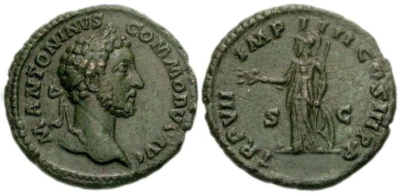 As de Marco Aurelio. TR P XXII IMP IIII COS III (S-C). Minerva. Ceca Roma. RIC_0338