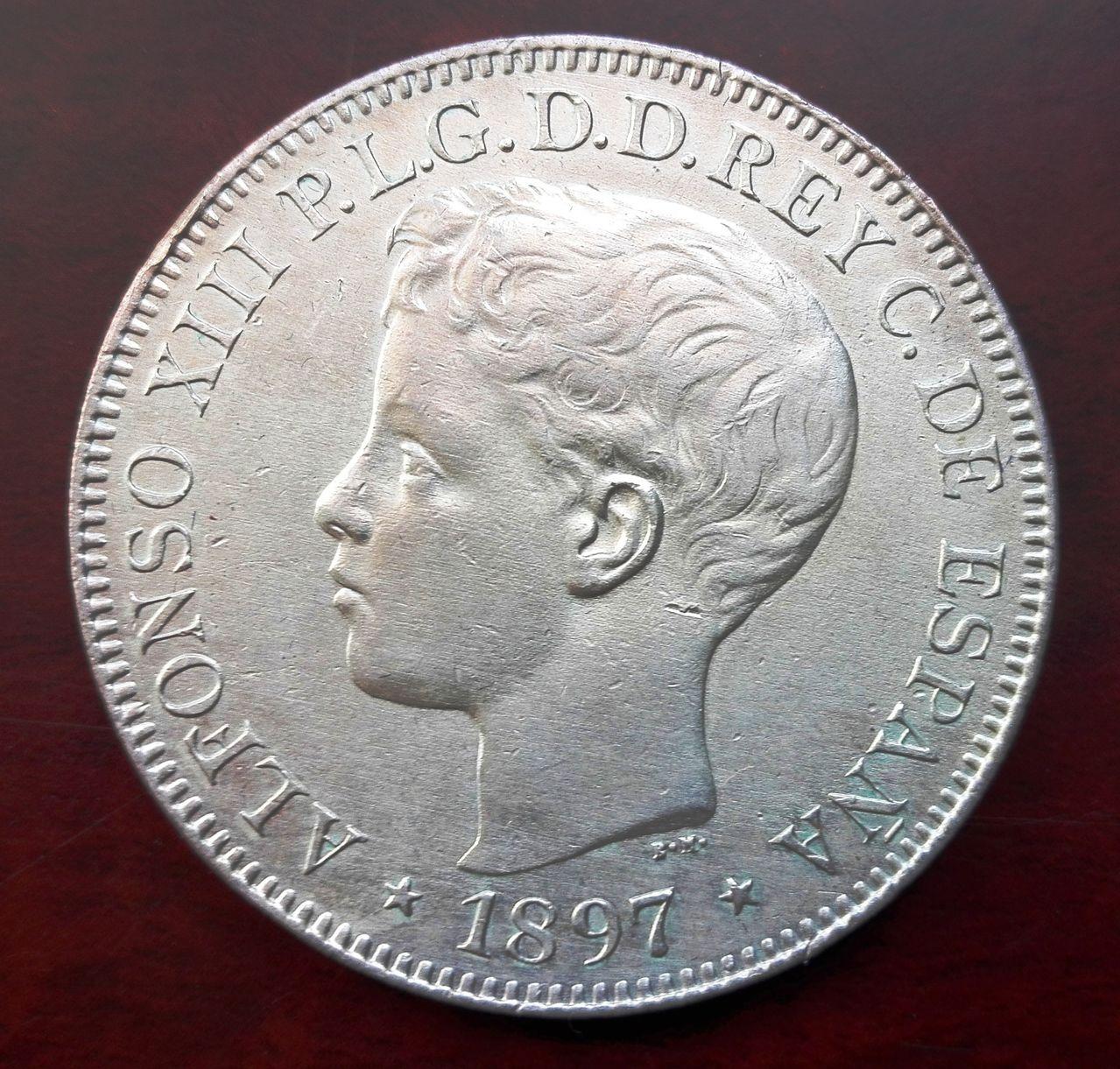 1 peso Filipinas 1897, Alfonso XIII  1_peso_fiolipnas