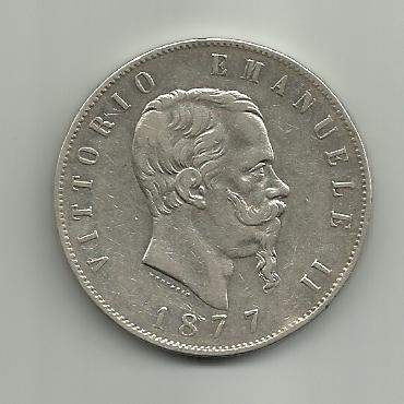 5 Liras  1877 de Vittorio Emanuele II de Italia 5_liras_Victorio_Emanuel_II_1877_anver