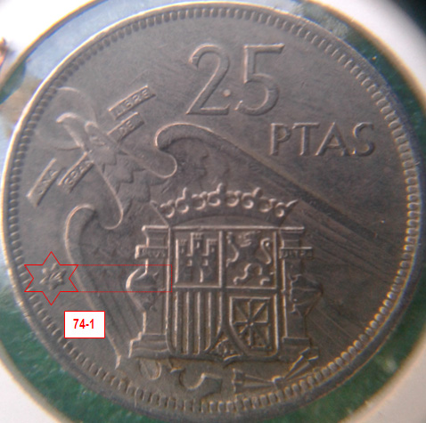 Geometría de las estrellas de las monedas de 25 pesetas 1957* 74_1_E